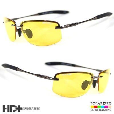 SPORT WRAP HD NIGHT DRIVING VISION SUNGLASSES YELLOW HIGH DEFINITION GLASSES (High Definition Sunglasses)