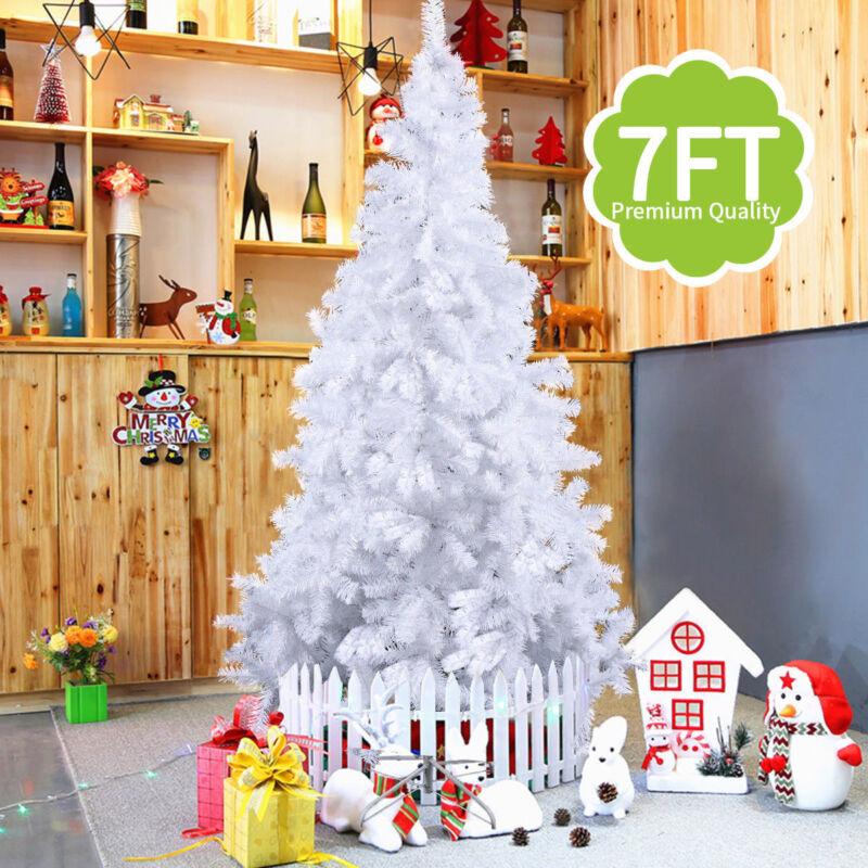 b39dca412a8 Искусственная праздничная елка White 4 6 7 9.8 Feet Tall Christmas Tree W Stand  Holiday Season Indoor ...
