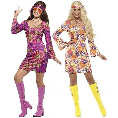 Hippie Costume Adult 60s 70s Girl Halloween Fancy Dress - Halloween Hippie Costume
