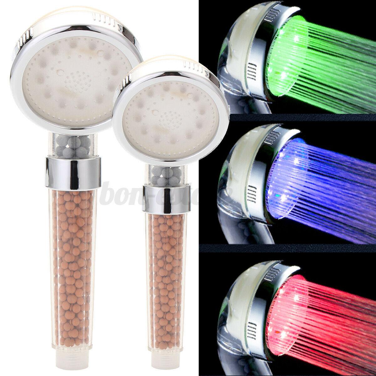 3 Color Chanin LED Liht Shower Head Handheld Ionic Filtration Showerhead  US! Bath
