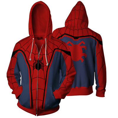 SpiderMan Homecoming Men Zipper Casual Hoodie Jacket Coat Cosplay Costume