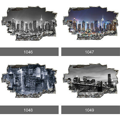 New York City Skyline Manhattan 3D Art Wall Mural Photo Wallpaper Wall Stickers