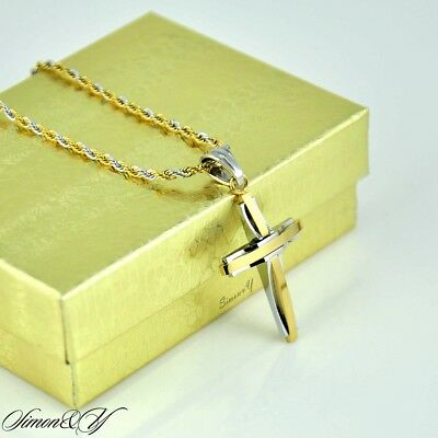 Two Tone Stainless Steel Small Cross Pendant Necklace Smooth Rope Chain 20