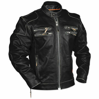 Men's Rivet Motorcycle Gangster Black Real Leather - Black Rivet Leather Jacket