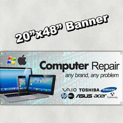 Computer Repair Banner Sign Pc Mac Microsoft Apple Phone Tablet