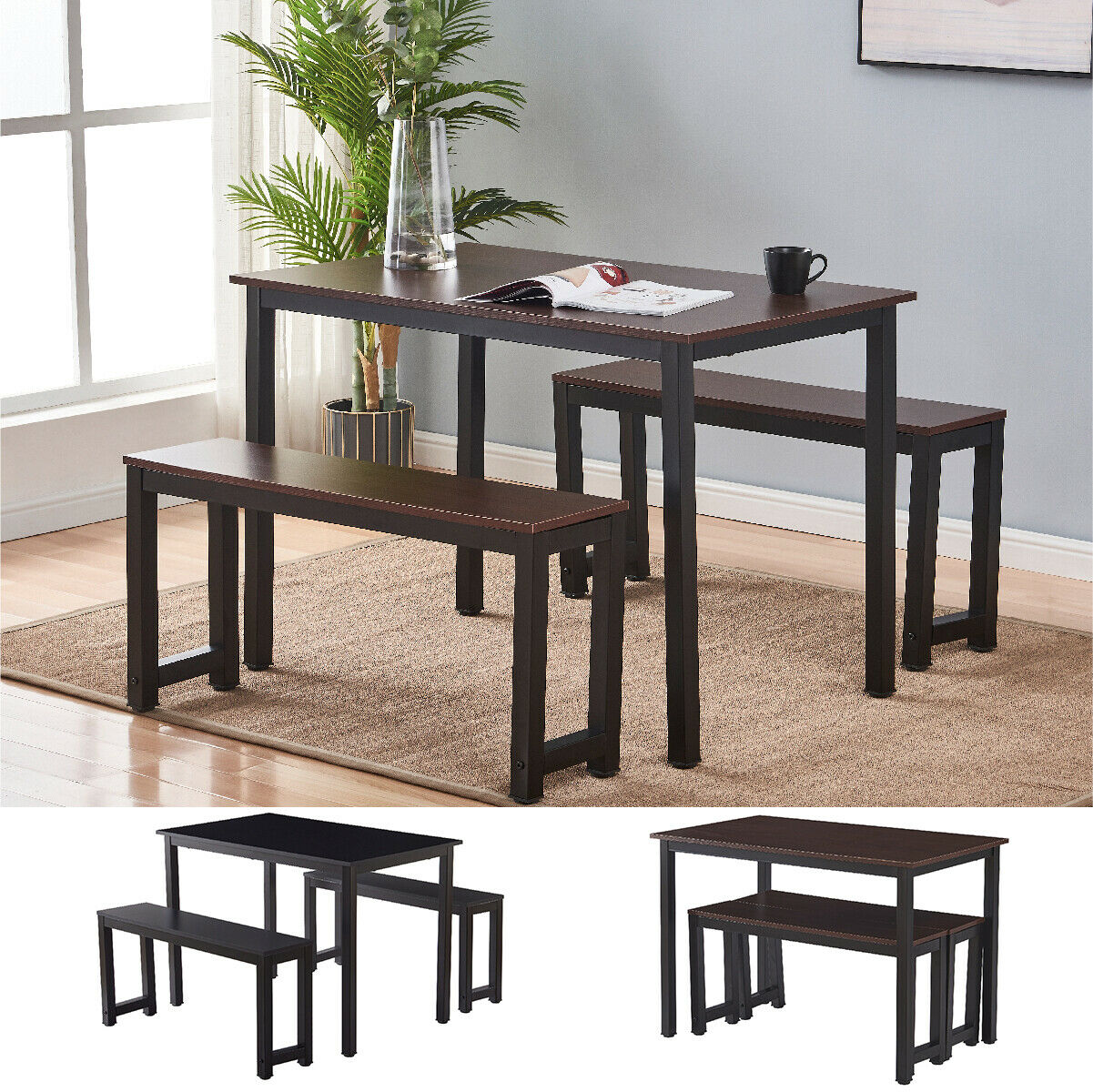 3 piece dining table set with 2