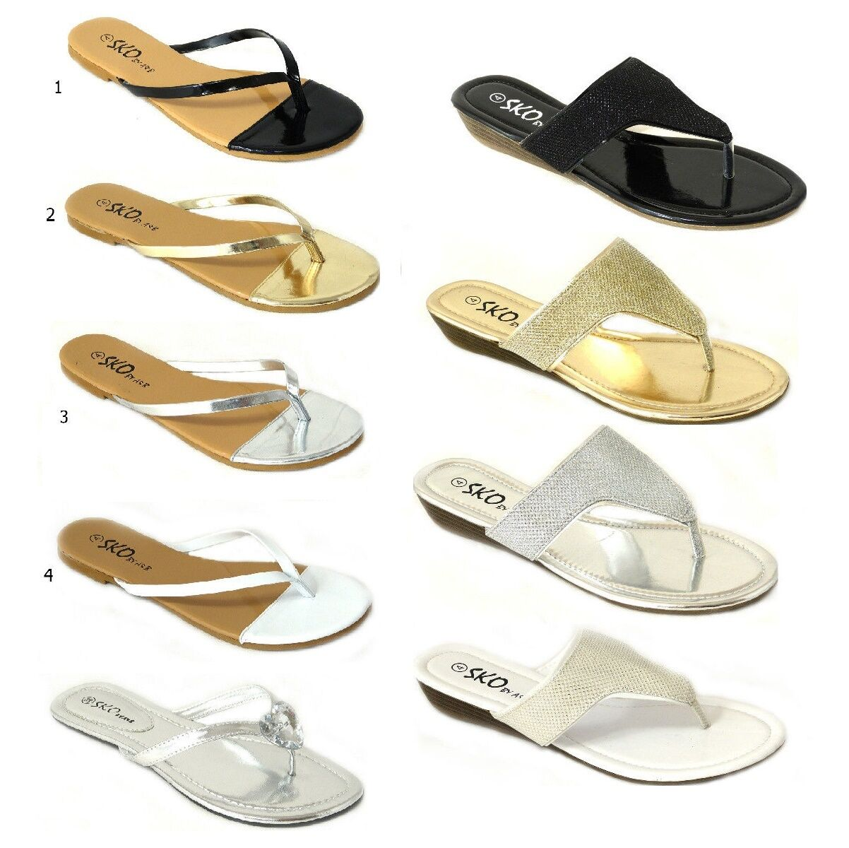 Womens Ladies Flat Wedge Toe Post Summer Beach Sandals -6470
