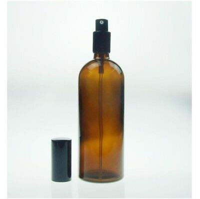 2 x 200ml - Amber Glass Bottle Black Spray with Lid Aromatherapy Essential Oil