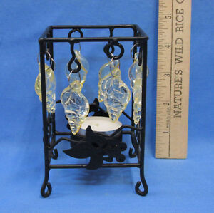 Metal-Candle-Holder-Black-Tea-Light-Tealight-w-Plastic-Sea-Shell-Design-Conch