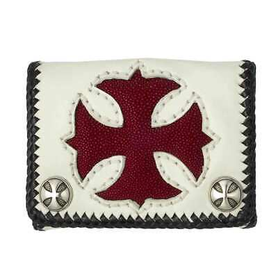 Short White Cowhide Leather Trifold Wallet w/Red Stingray Cross - W40WR White Stingray Cross