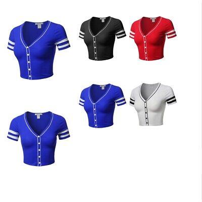 FashionOutfit Women's Short Sleeve V neck Baseball Varsity Stripe Crop Top Tee (Varsity Tees)