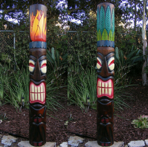 "Tribal Tiki Bar Wood Mask set of 2 Fire Leaf Wall Patio Tropical Bar Decor 60"""