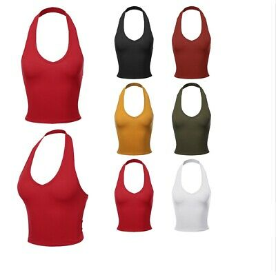 FashionOutfit Women's Solid Halter Neck Basic Crop Tank Top (Halter Neck)