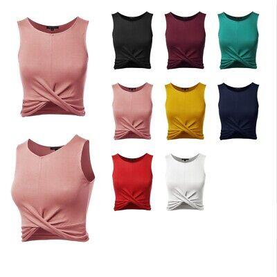 FashionOutfit Women's Solid Front Knot Crop Tank Top