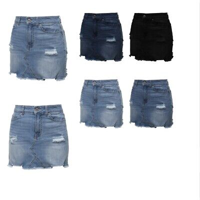 Washed Denim-mini (FashionOutfit Women's Casual Stone Washed Denim Mini Skirt)