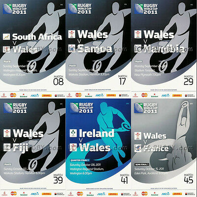 RWC 2011 WALES 6 x Rugby Programmes (Rugby World Cup) d