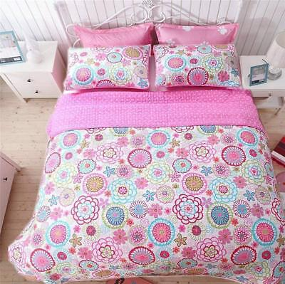 PINK BLUE FLOWERS 3pc Full / Queen QUILT SET : GIRL MOD BRIG