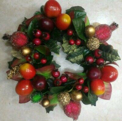 Ghirlanda natalizia feste di Natale fuoriporta con frutti plastica diametro 20cm