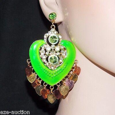 Neon Rhinestone Earrings (ENAMELED, RHINESTONE NEON GREEN HEART CHANDELIER EARRINGS WHOLESALE PRICE)