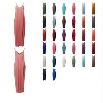 FashionOutfit Women's Casual Adjustable Strap Side Pockets Loose Long Maxi Dress