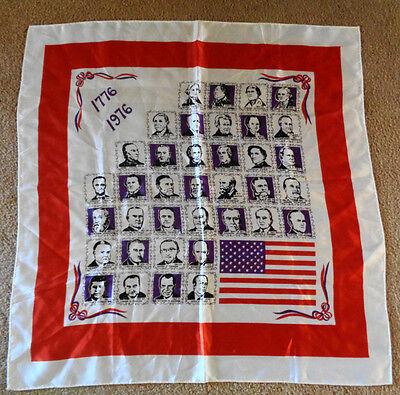 Vintage 70s Bicentennial Presidential Scarf 26 x 26