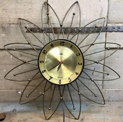 "Vintage Mid Century 20"" Lux Starburst Atomic Wall Clock - Electric - Works"