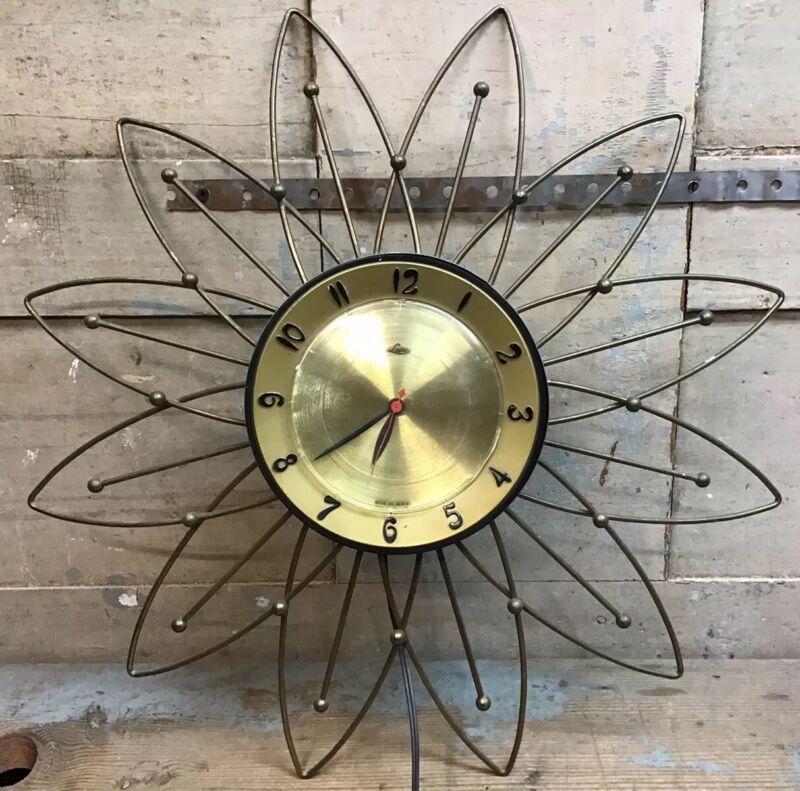 "Vintage Mid Century 20"" Lux Starburst Atomic Wall Clock - Electric - Works"