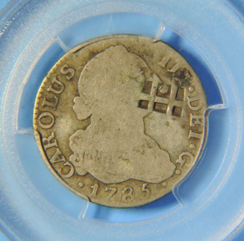 1841 Trinidad Lattice KM-1.1 C/S 1785 Spain Silver 2 Reales PCGS Countermarked