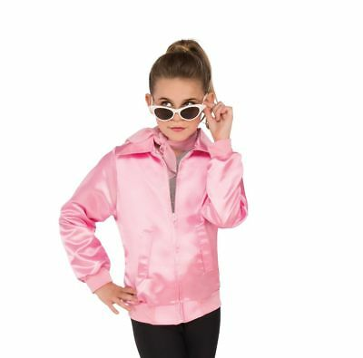 Girls Pink Ladies Pink Satin Jacket Grease Kids Size Medium - Grease Pink Ladies Jacket Kids