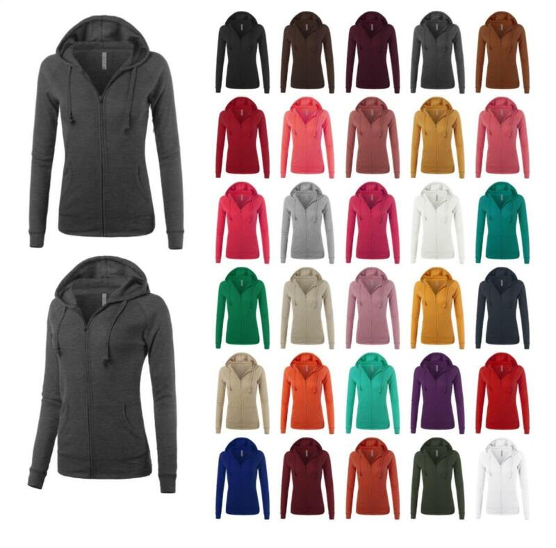 Casual Fitted Lightweight Pocket Zip Up Hoodie