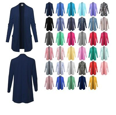 FashionOutfit Women's Casual Lightweight Open Front Cotton Cardigan