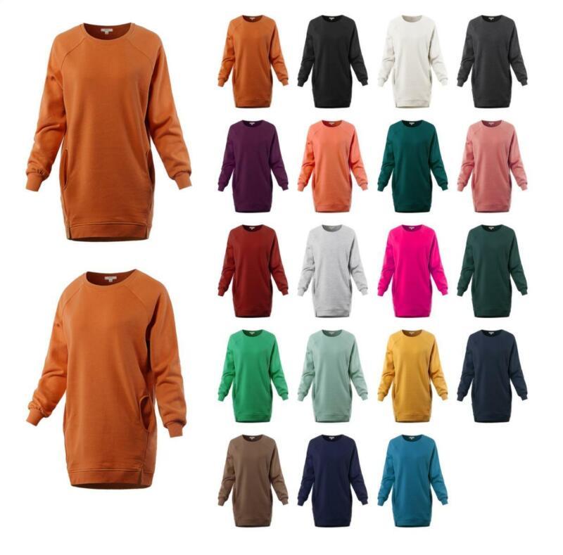 Oversized Crew Neck Loose Fit Longline Front Slits Pockets Sweatshirts