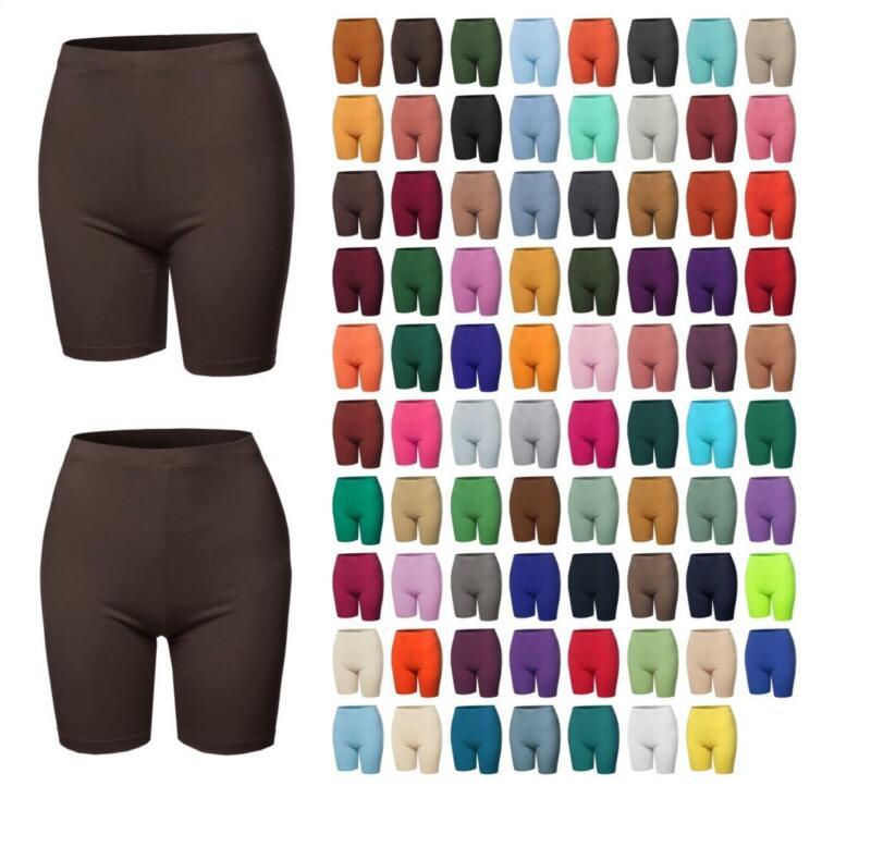 Basic Solid Premium Cotton Mid Thigh High Rise Biker Bermuda Shorts