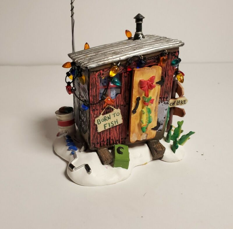 Christmas Village Dept 56 Accessories Here Fishy Ice House Fishing 2001