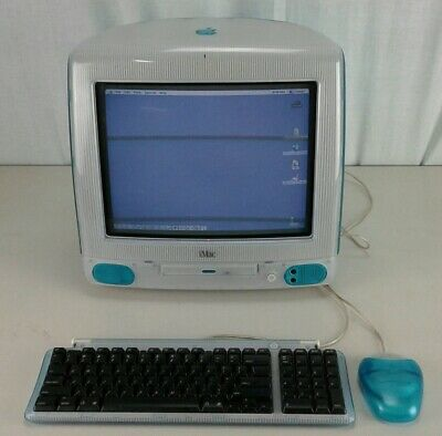 Vintage 1999 Blue Apple iMac G3 (M4984)  w/ Original Mouse & Keyboard AS IS