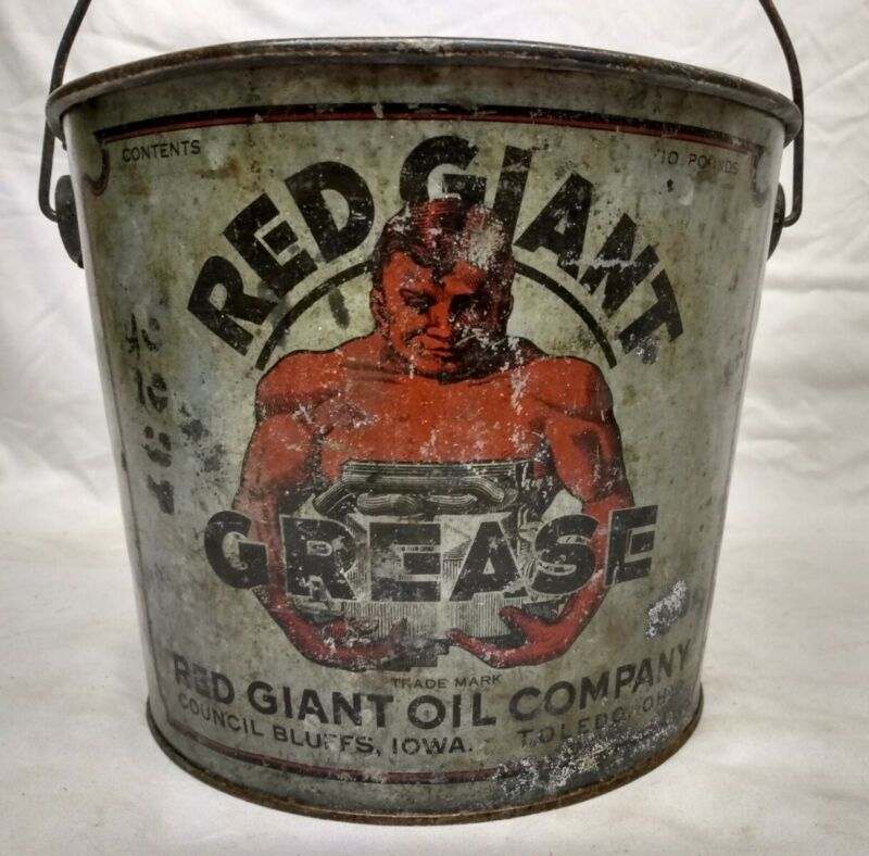 Rare Vintage Red Giant Oil Co Grease Bucket Can Council Bluffs IA Gas sign