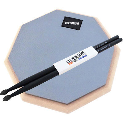 Keepdrum DP-GY8 Practice Pad Gray + Drumsticks 5BB Black