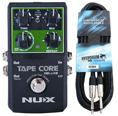 Nux Tape Core Deluxe Effects Unit Delay Pedal+Keepdrum Guitar Cable 6m