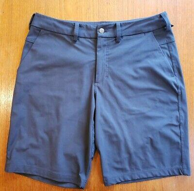 Men's LULULEMON Chino Stretch Shorts Size 32 hidden zip back pocket Slate Grey Hidden Zip Pocket