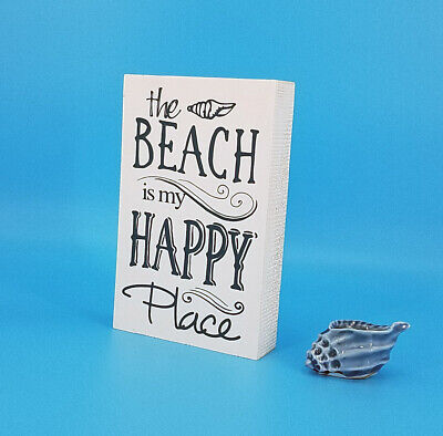 (ESE Wooden Sign wood block- the Beach is my happy place)