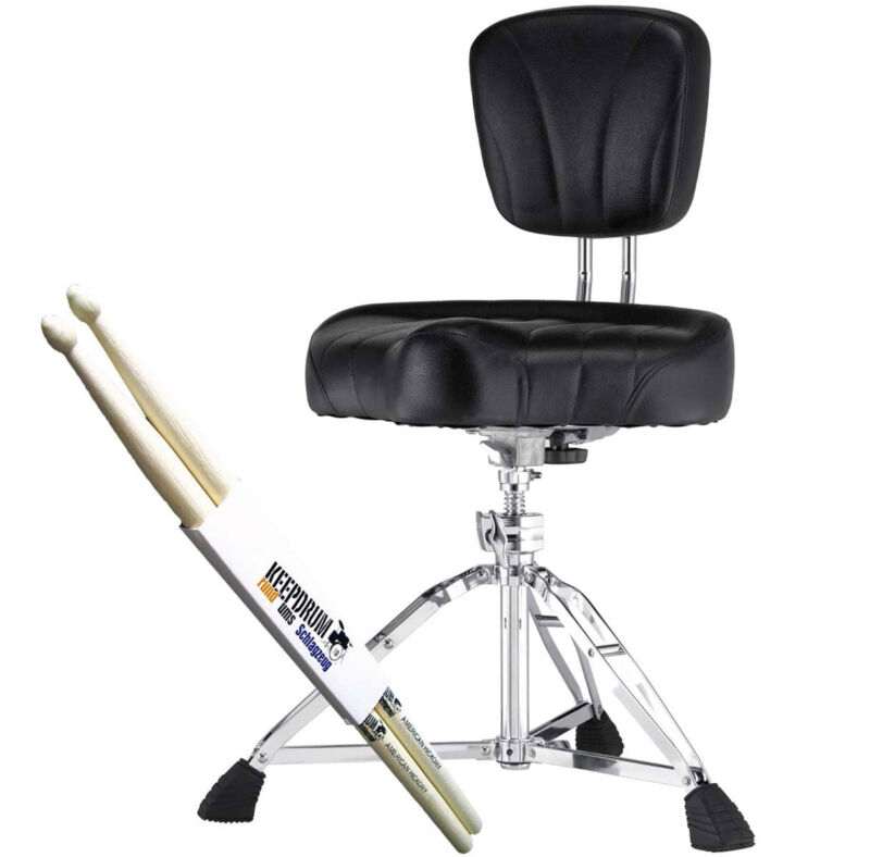 Pearl D-2500BR Drumhocker With Rest + 1 Pair Keepdrum Drumsticks