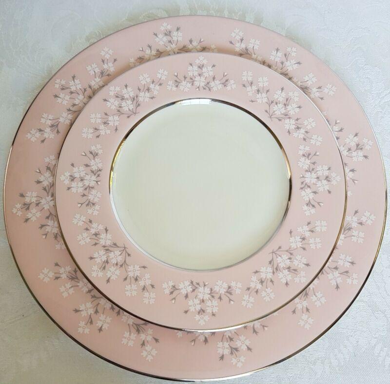 Vintage Castleton China Trousseau Salad & bread butter Plates Mint Floral & pink
