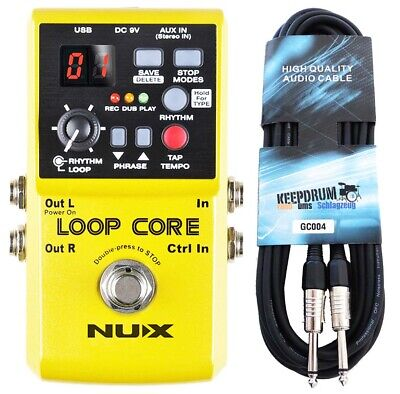 NUX Loop Core Effects Unit Looper Pedal + Keepdrum Gitarren-Kabel
