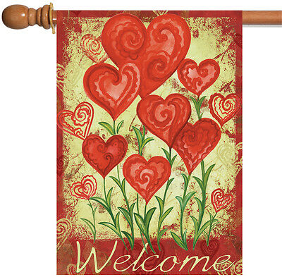 NEW Toland - Garden Hearts - Welcome Valentine Red Heart House Flag