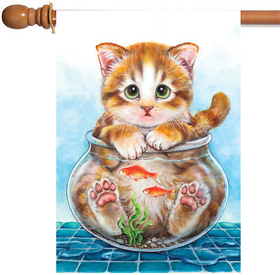 Toland Cat Trap 28 x 40 Cute Funny Kitty Fish Bowl House Flag](Cute Traps)