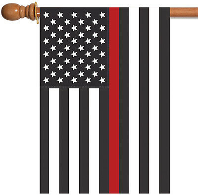 Toland Thin Red Line USA 28 x 40 Patriotic Firefighter Duty Service House (Firefighter House Flag)