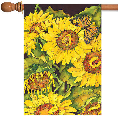 Toland Sunflower Delight 28 x 40 Colorful Flower Yellow Butterfly House Flag (Yellow Butterfly House)