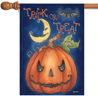 Toland Pumpkin Treats 28 x 40 Spooky Trick or Treat Halloween Bat House Flag - Halloween Bat Treats