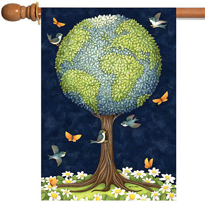 Toland Earth Tree 28 x 40 Conserve Nature Globe Bird Butterfly Flower House Flag, used for sale  Poulsbo
