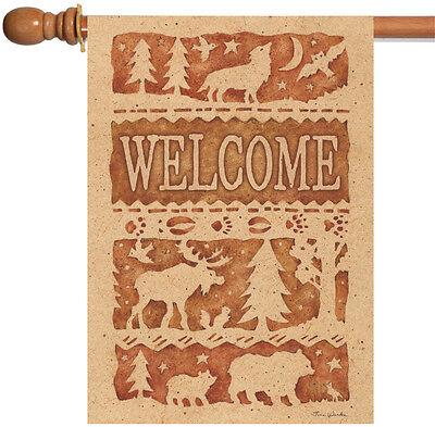 Toland Wildlife Welcome 28 x 40 Outdoors Moose Bear Wolf Bird House Flag